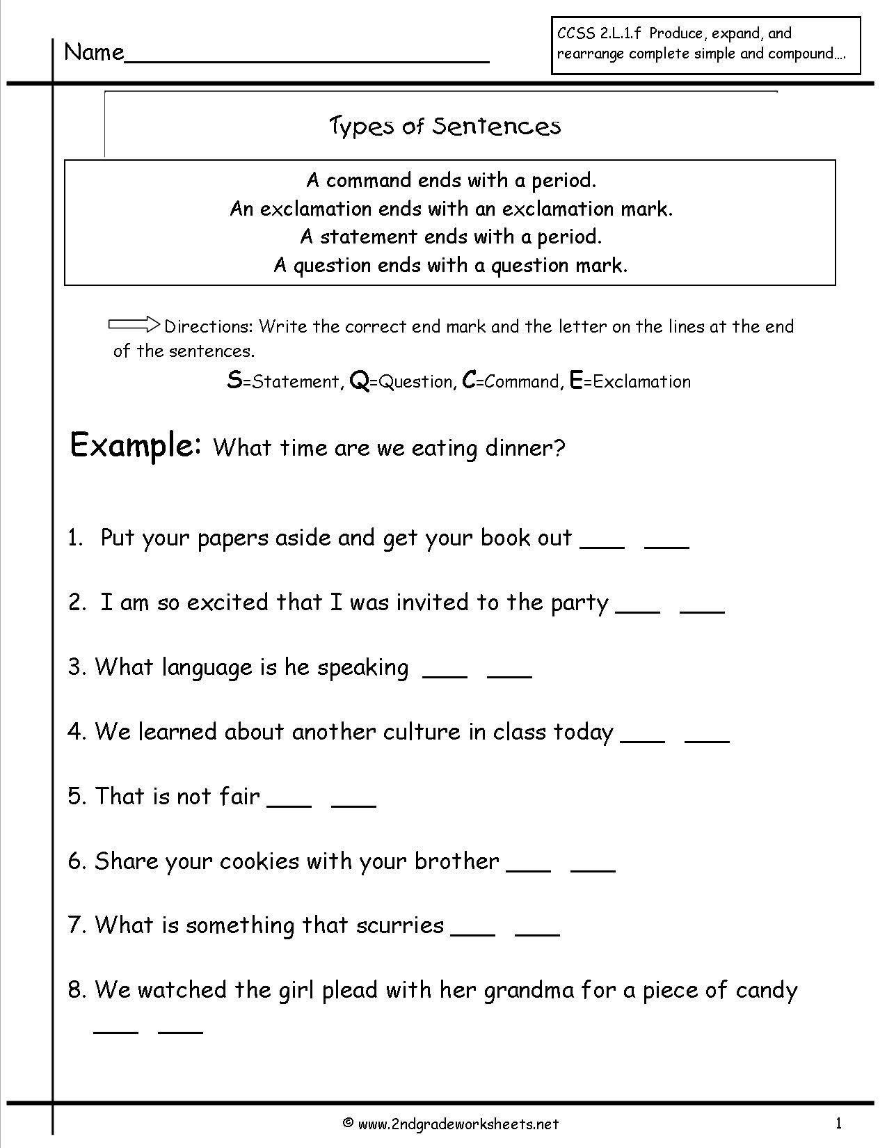 Sentence Correction Worksheets 3rd Grade Second Grade Sentences Worksheets Ccss 4t In 2020 Types Of Sentences Worksheet Types Of Sentences Complex Sentences Worksheets