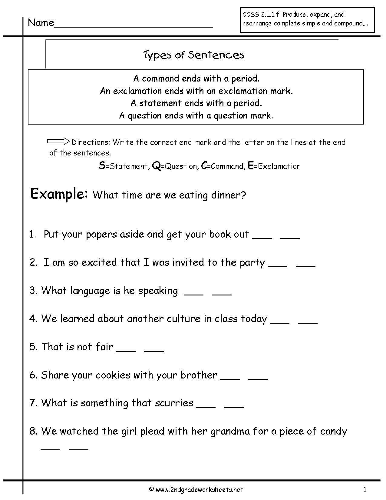 Complex Sentences Worksheet 5th Grade Second Grade Sentences Worksheets  Ccss 4th S… in 2020   Types of sentences worksheet [ 1650 x 1275 Pixel ]