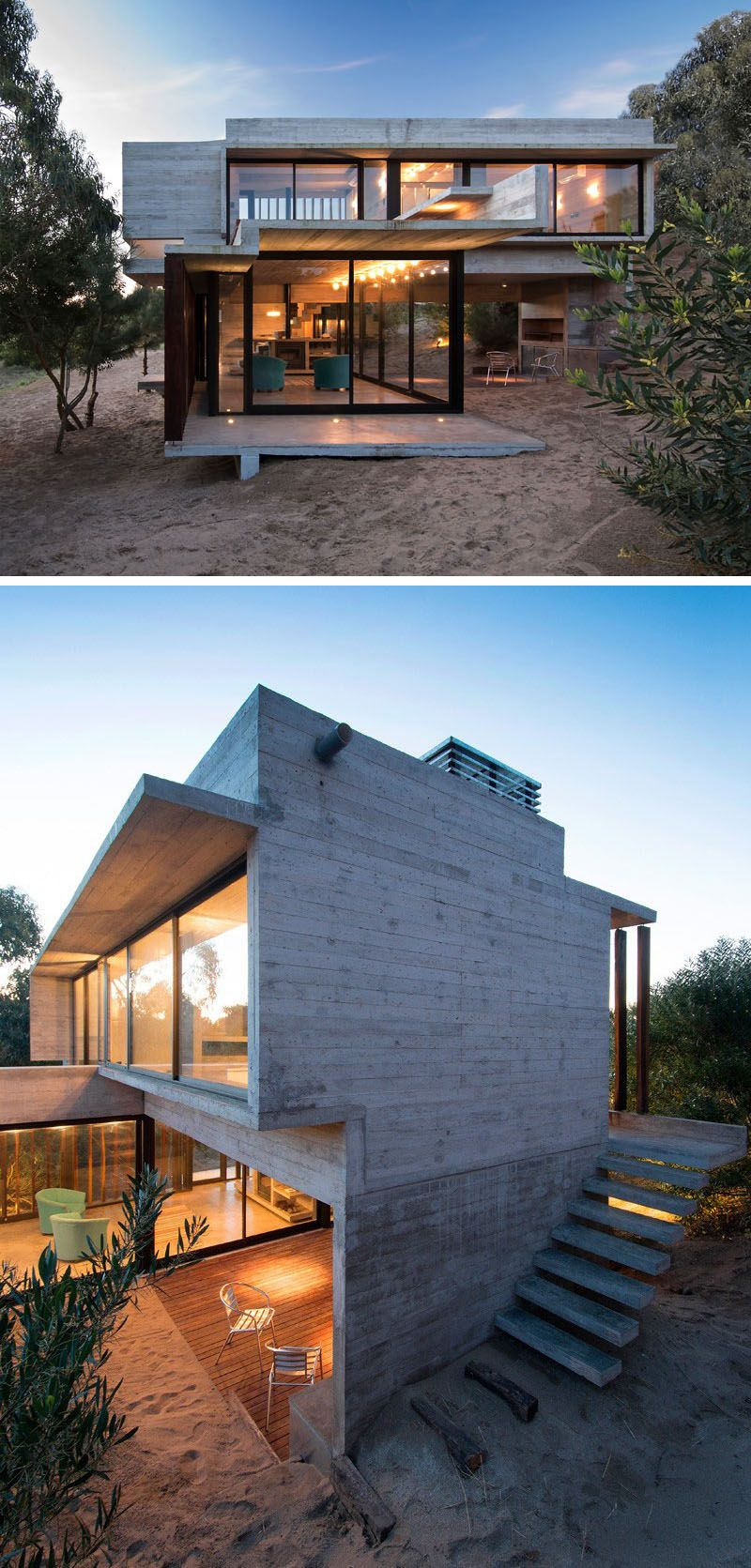 13 Modern House Exteriors Made From Concrete Modern Beach House Beach House Exterior Beach House Plans