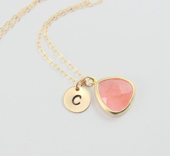Coral Personalized Necklace - Gold Initial Necklace Monogram Necklace Bridesmaid Gift Coral Pendant Pink Wedding Everyday Simple Dainty