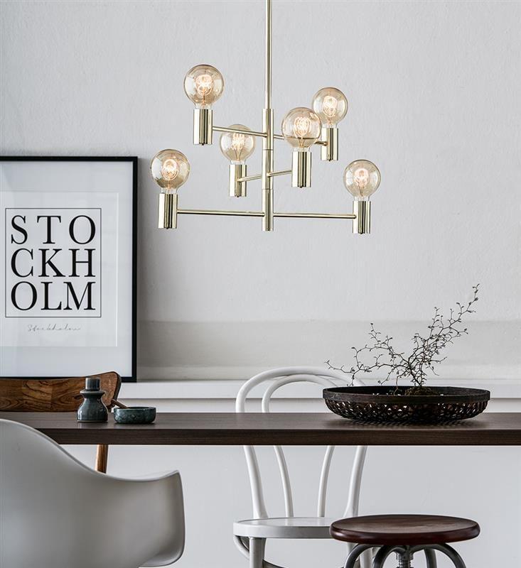 keria luminaires suspension lustre dor r tro 6 lumi res suspensions et plafonniers. Black Bedroom Furniture Sets. Home Design Ideas