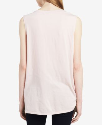 Calvin Klein Jeans Ombre Logo Graphic Top - Pink M