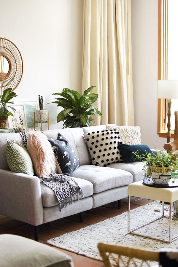 Best Gorgeous Gray Midcentury Modern Sofa Boho Living Room 400 x 300
