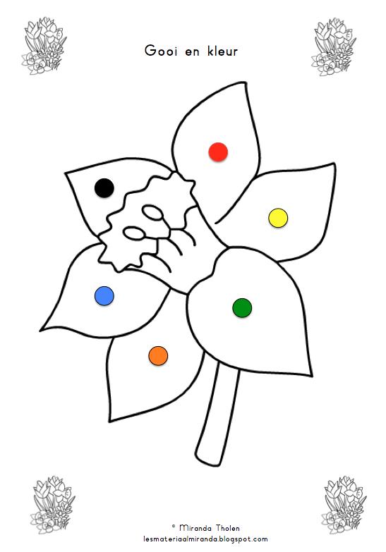 kleurendobbelsteenspel met thema lente voor groep 1 2