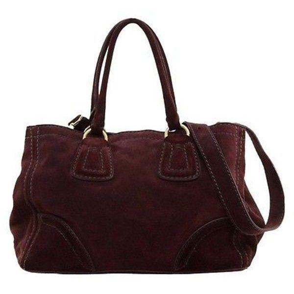 Pre-Owned Prada Suede Leather Tote Shopper Bag Wine Burgundy Gold Hw ... 35b462e324