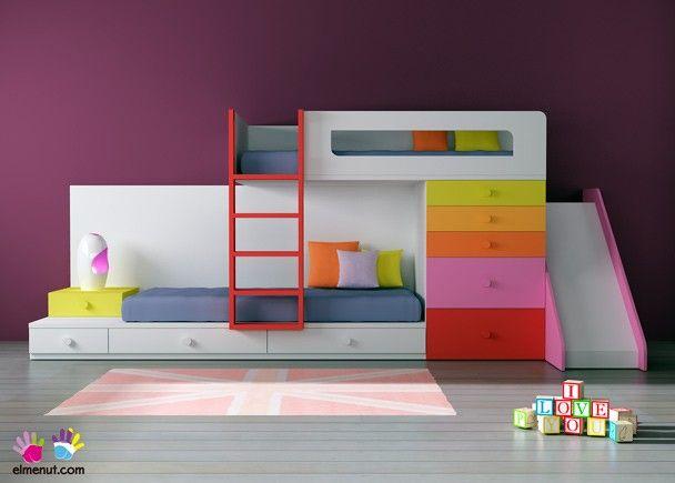 Habitaci n infantil 074 012 rec maras y literas - Literas infantiles con tobogan ...