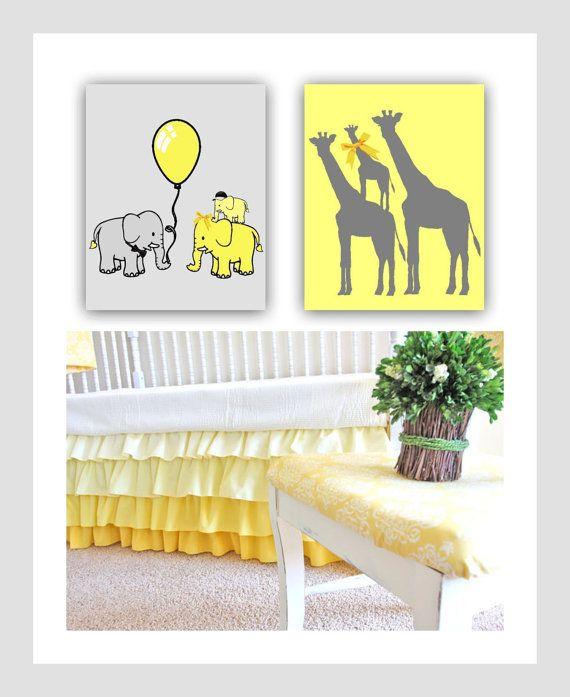 Grey Yellow Nursery Elephant Family Prints Giraffe by handpainting ...