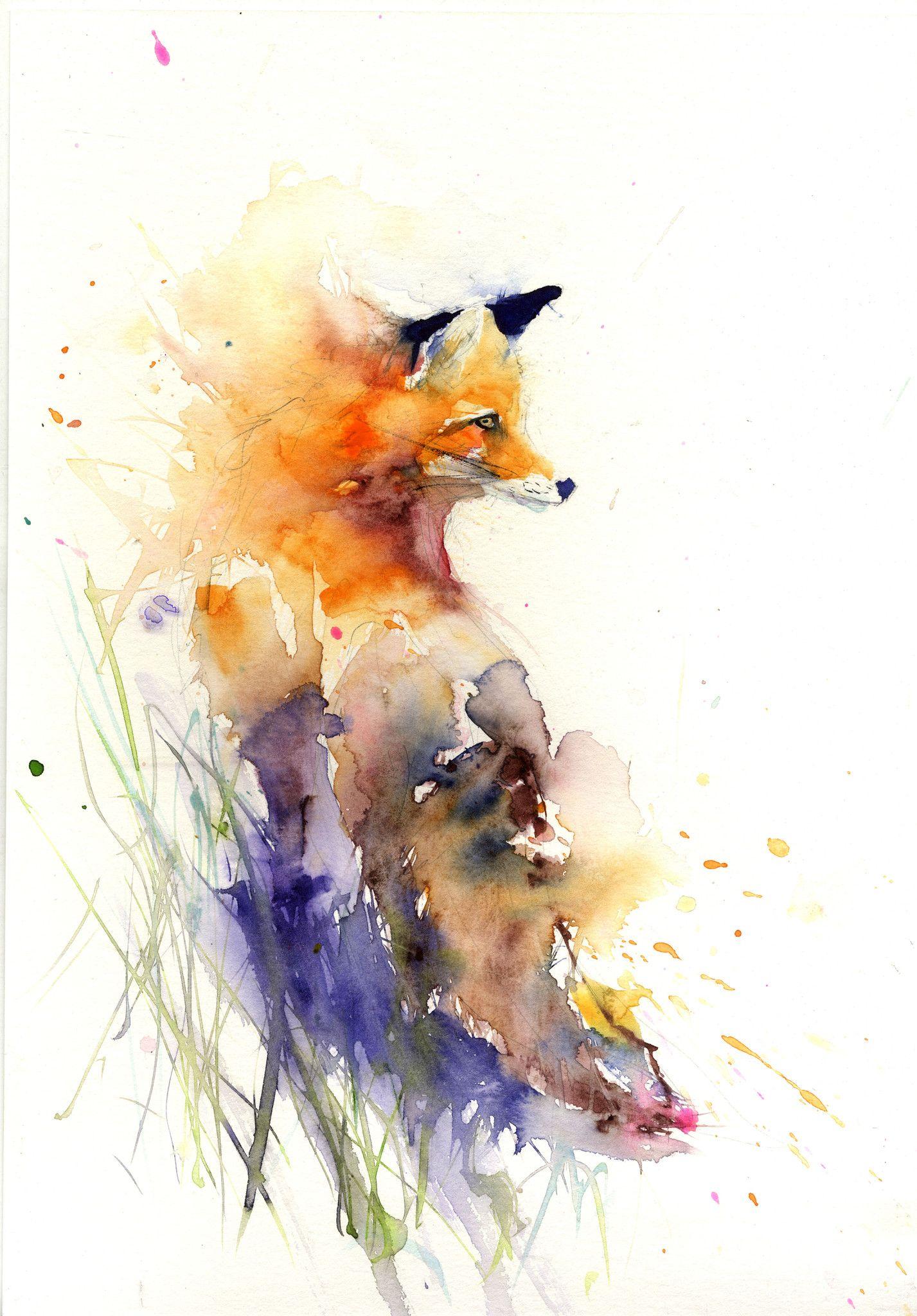 Jen Buckley Watercolor Red Fox Watercolor Fox Floral Prints