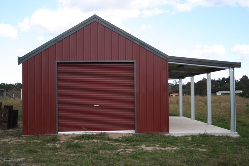 Garage with Garaport and Leanto Fair Dinkum Sheds