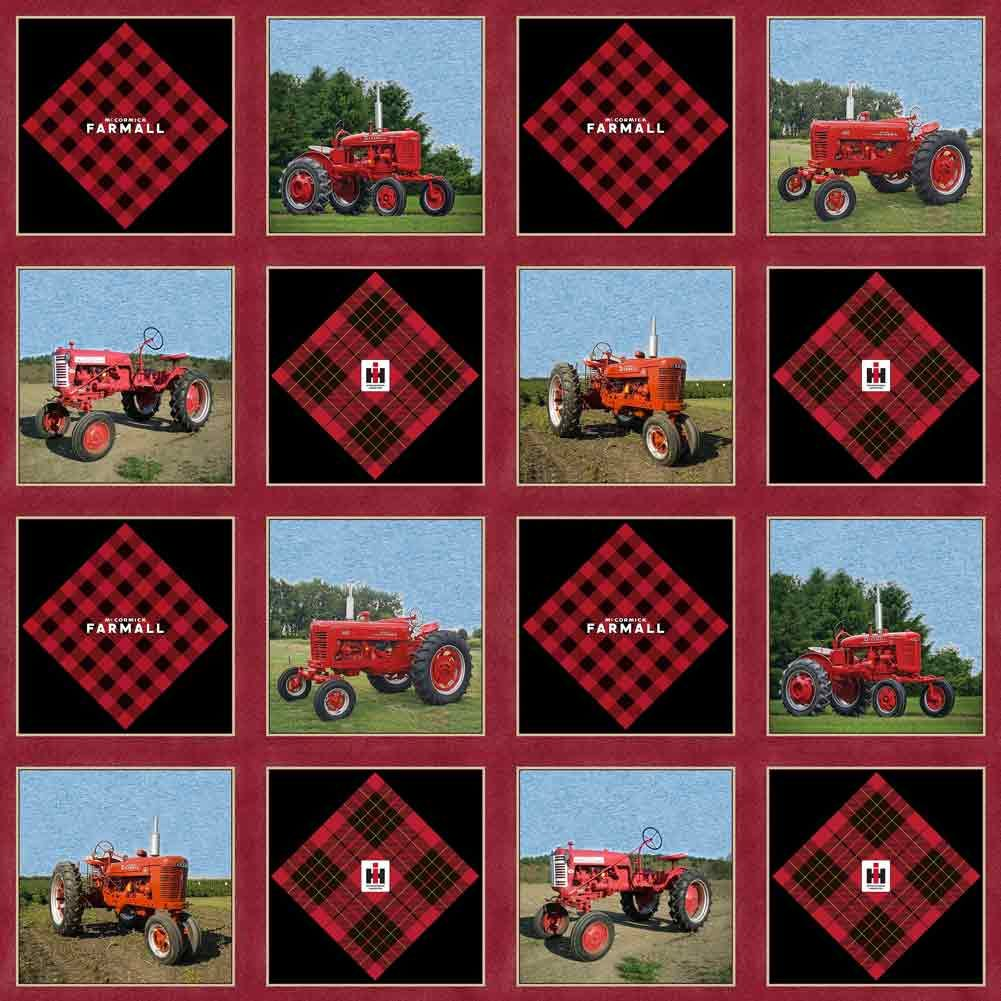 Ih Farmall Cheater Quilt Pattern Cotton Fabric Sold By The Yard