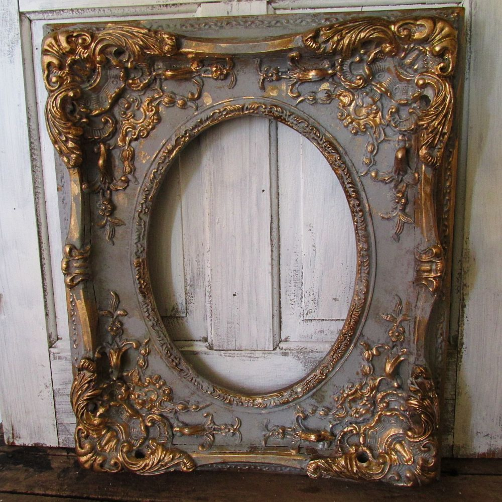 Large Ornate Picture Frame Wood W Gesso Antique French