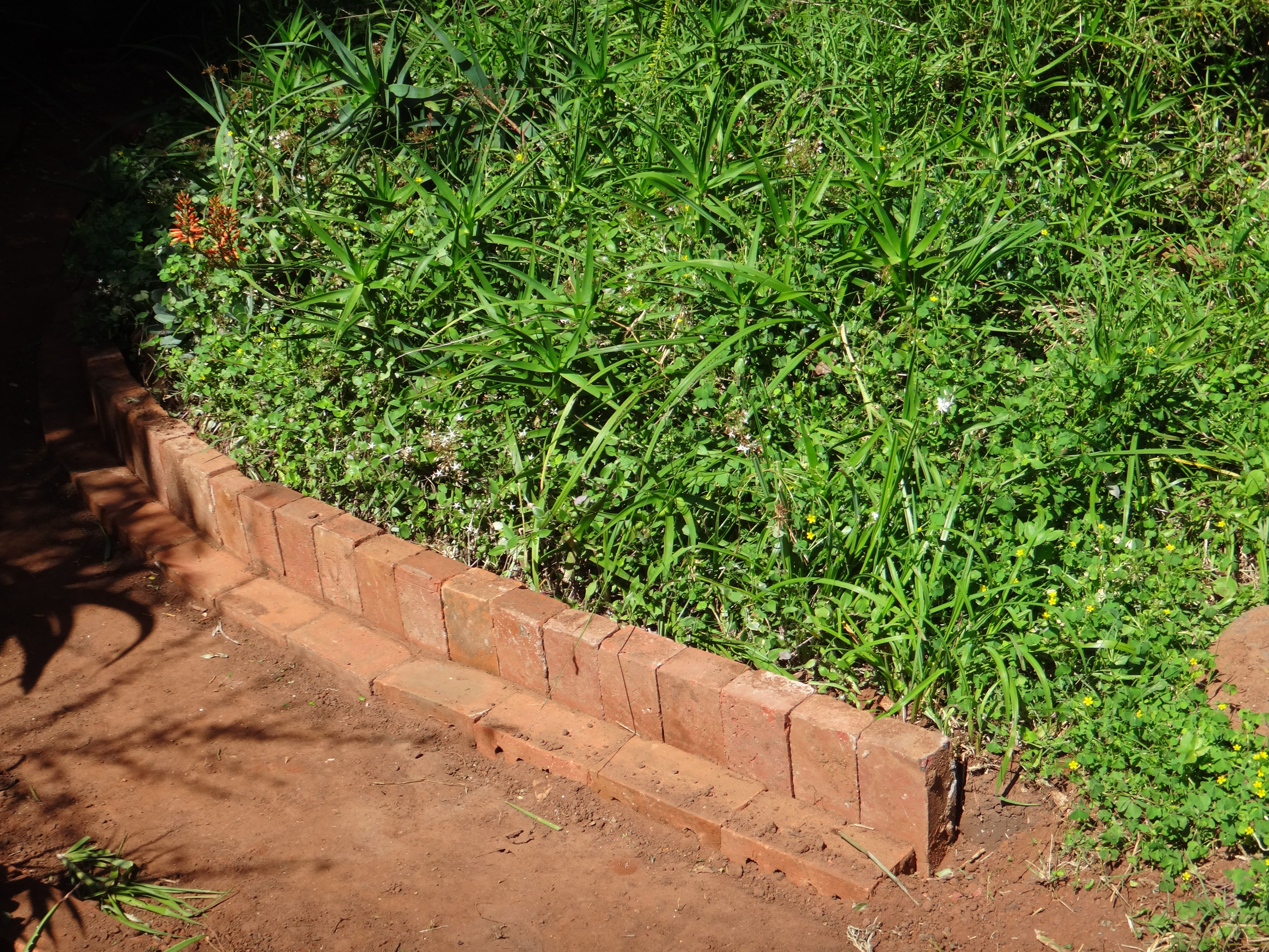 Photo update brick paving brick path and landscaping edging for Edging flower beds with edger