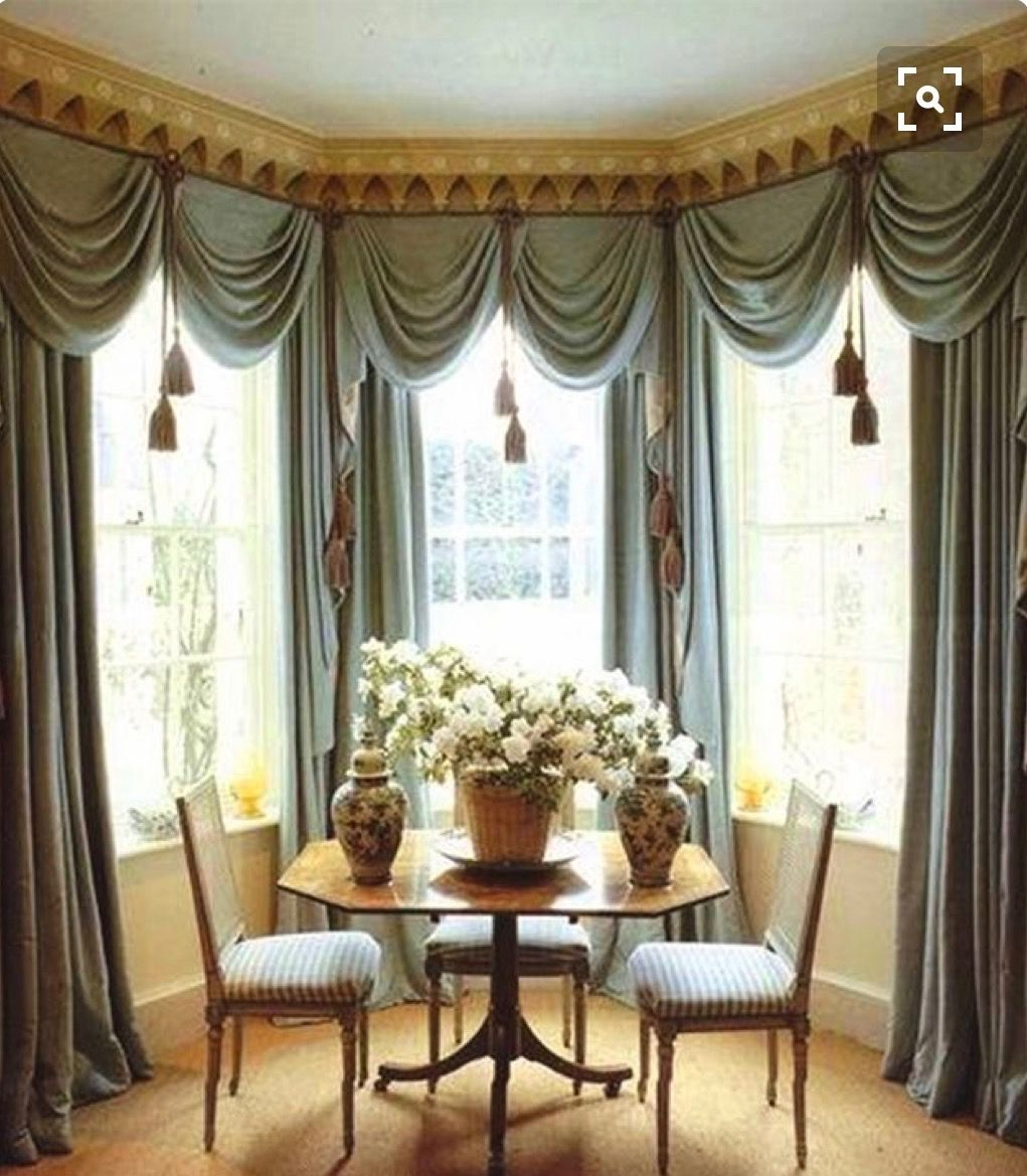 Bay Window Swags And Cascades Over Draperies With Large Tassel