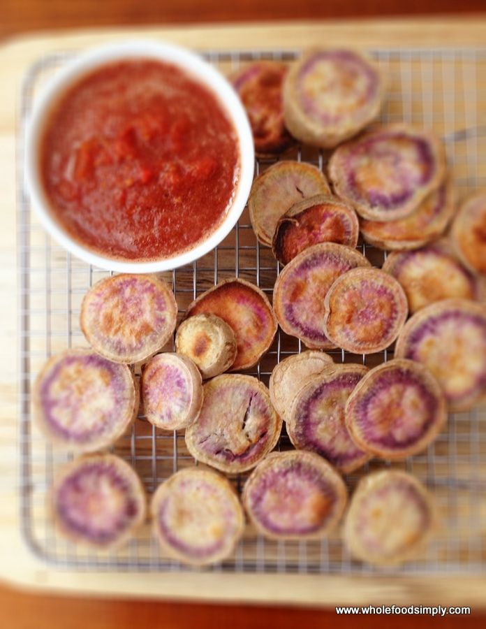 crispy chips and tomato sauce