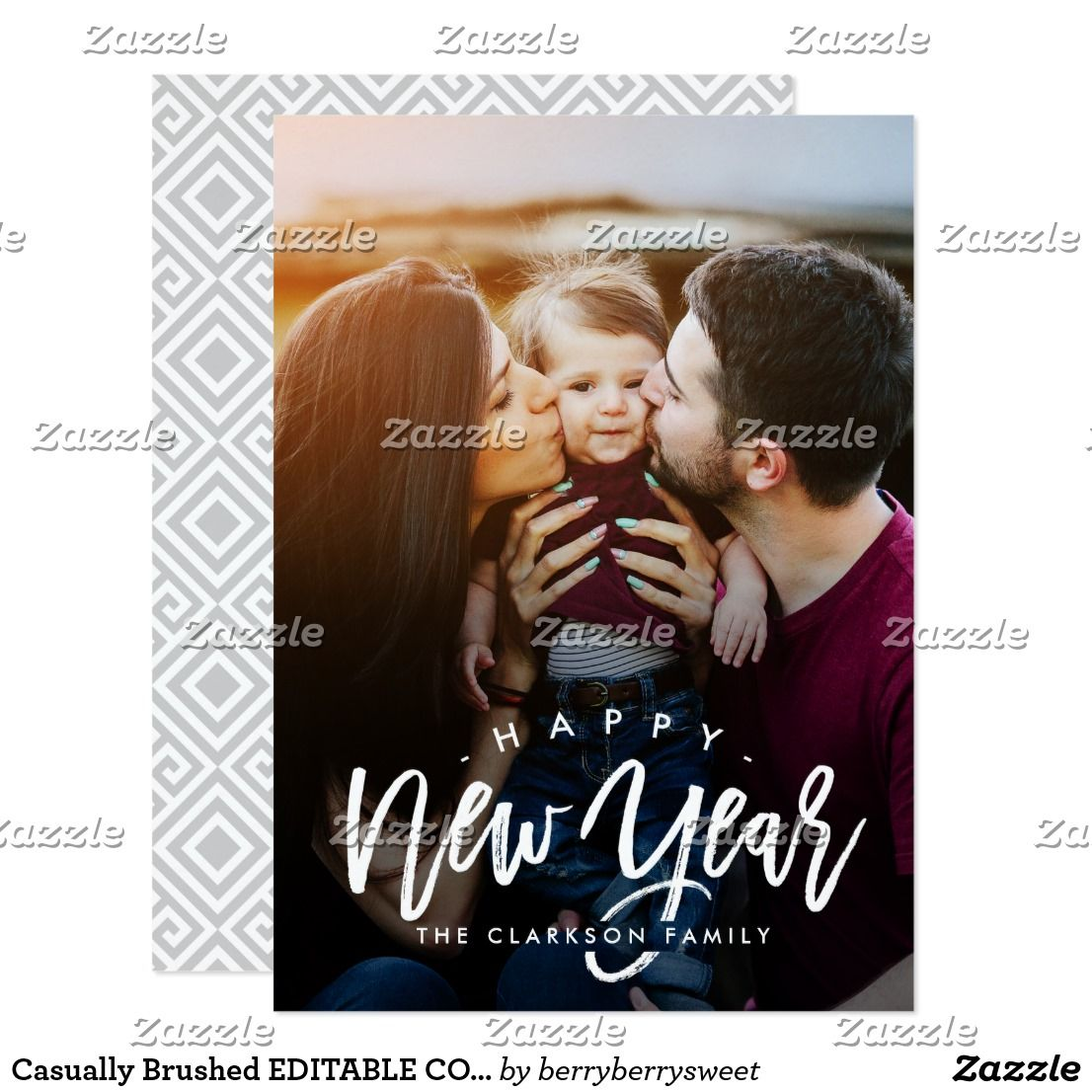 casually brushed editable color new year cards celebrate the season with this modern and stylish holiday card from berry berry sweet affiliate ad link