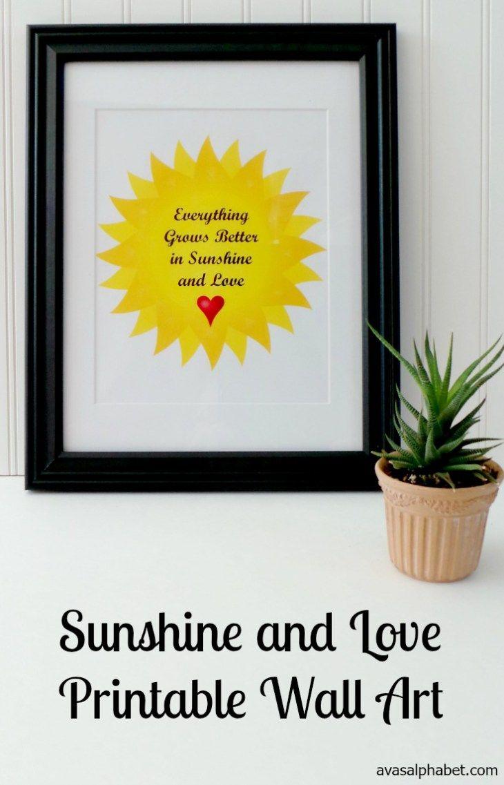 Sunshine and Love Printable Wall Art | Printable wall art, Sunshine ...