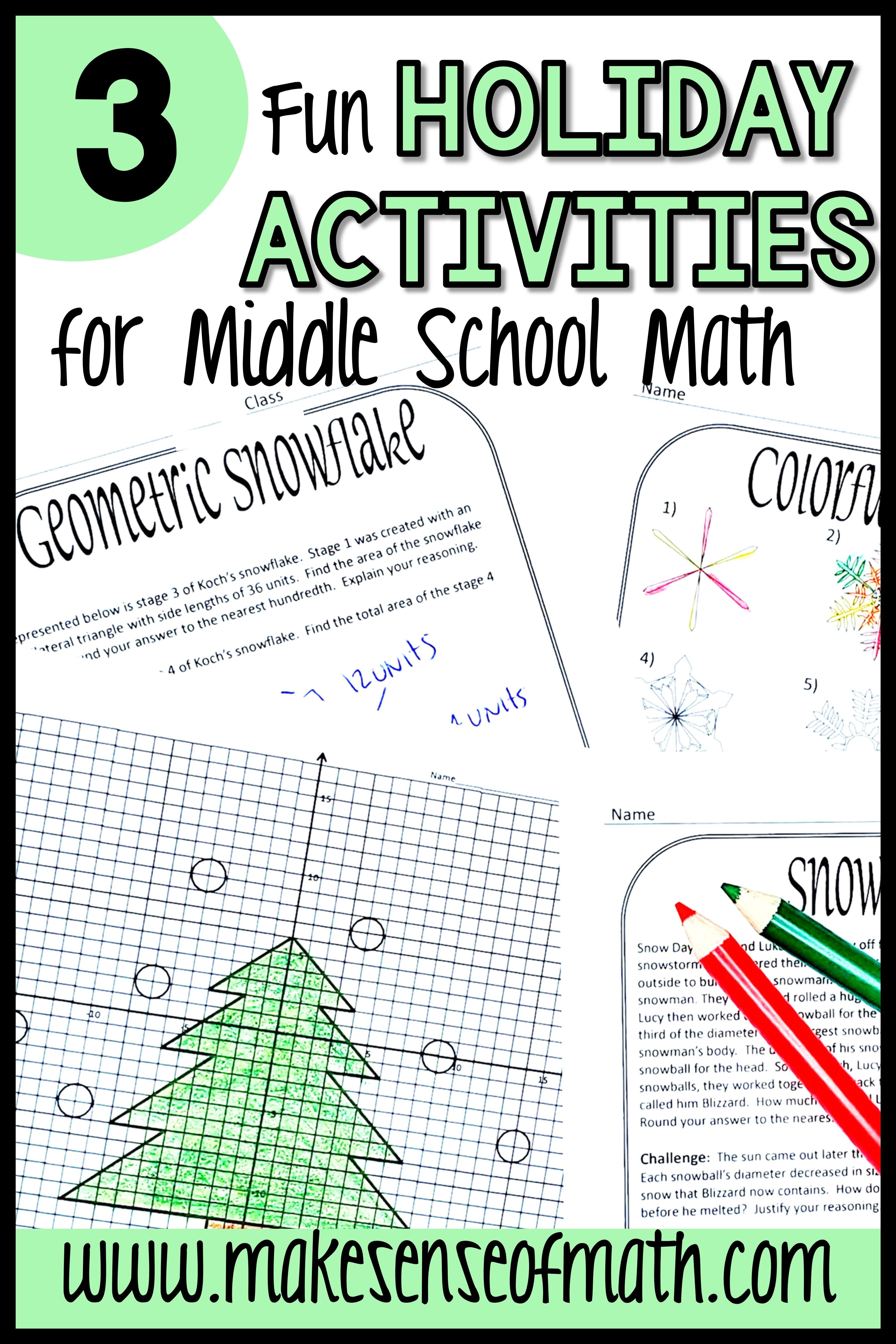 Holiday Math Activities Middle School   Maths activities middle school [ 5400 x 3600 Pixel ]