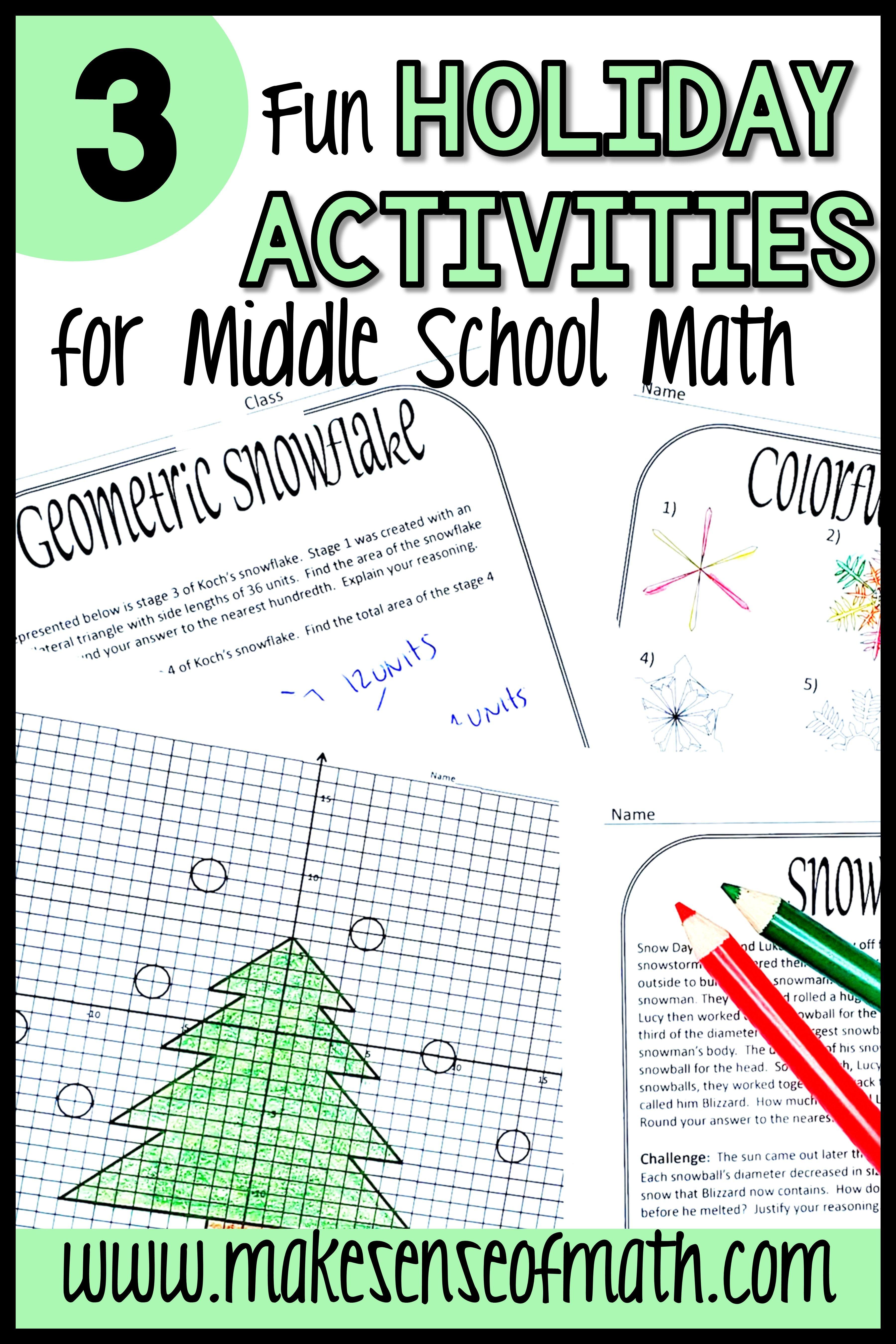 small resolution of Holiday Math Activities Middle School   Maths activities middle school