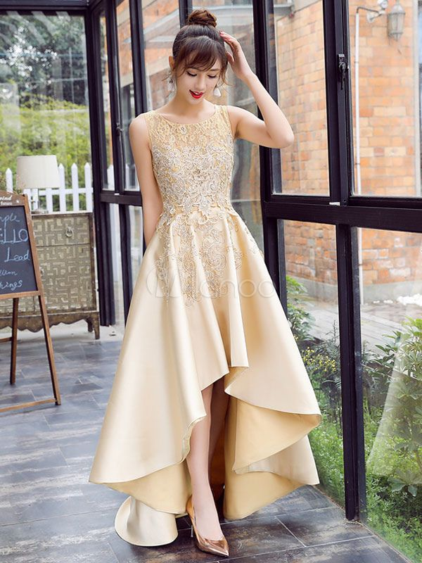 07623155c87 Satin Prom Dress Lace Applique High Low Evening Dress Light Gold Jewel  Sleeveless Pleated Party Dress