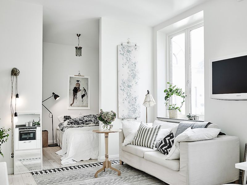 This Beautiful Compact Studio Apartment Treats With Lots Of Natural Light And Interesting Details In Textiles