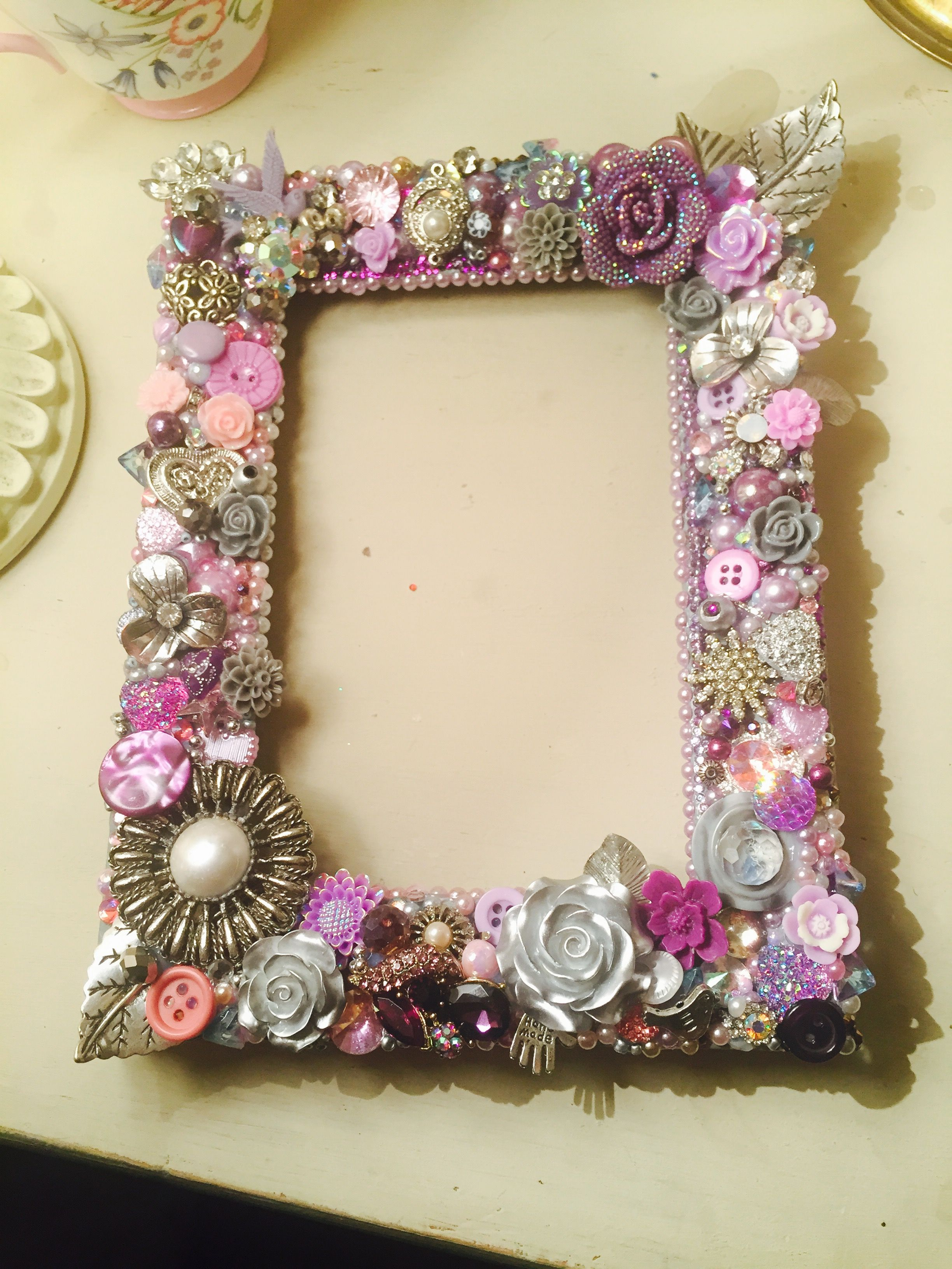 Beautiful Lilac Silver And Purple Mixed Media And Button