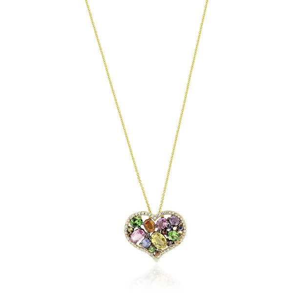 Effy Jewelry Effy 14K Yellow Gold Multi Sapphire and Diamond Heart... ($3,416) ❤ liked on Polyvore featuring jewelry, pendants, 14k gold pendant, 14k diamond pendant, gold heart pendant, 14k pendant and heart shaped diamond pendant