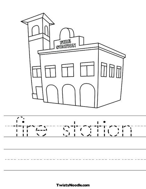 Fire Station Worksheet Fire Station Preschool Coloring Pages Building On Fire