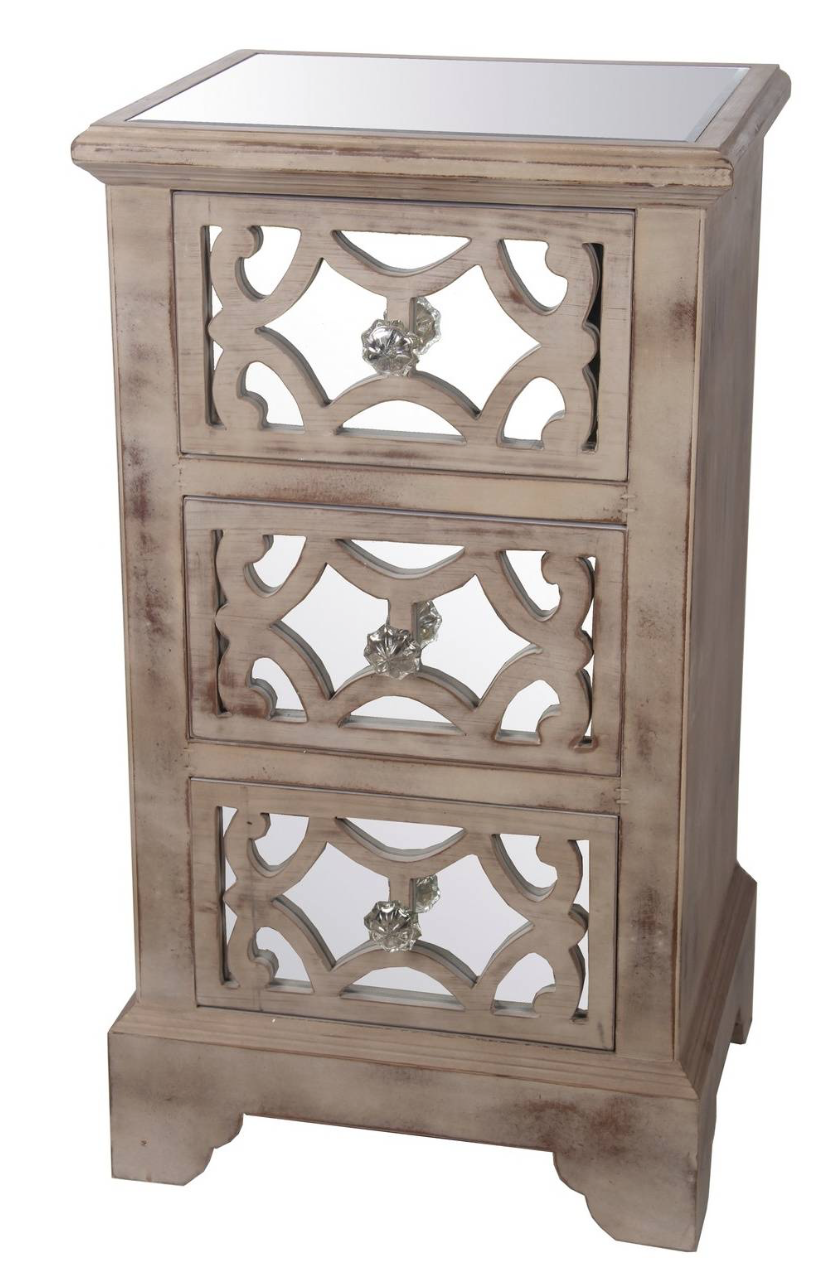 Style A Traditional Bedroom With The Privilege International 3 Drawer  Accent Stand. Featuring Slightly Weathered Wood, Mirrored Paneling, Crystal  Handles, ...