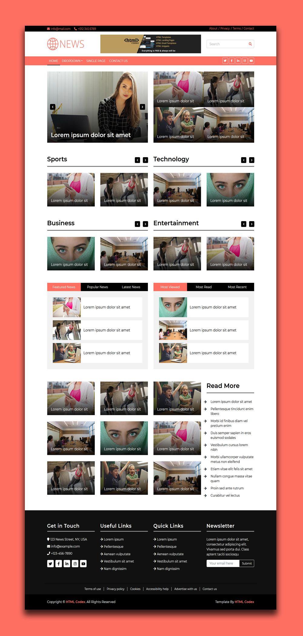 News Magazine Website Template Website Template Free Html Templates Templates