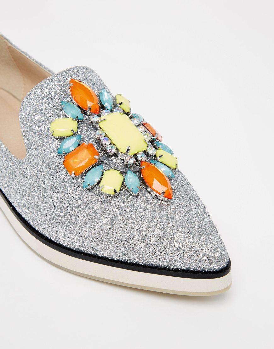 ASOS | ASOS METAPHOR Embellished Flat Shoes at ASOS