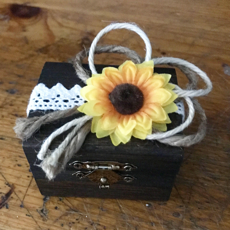 Rustic Sunflower Wedding Ring Box 💍 Rustic sunflower