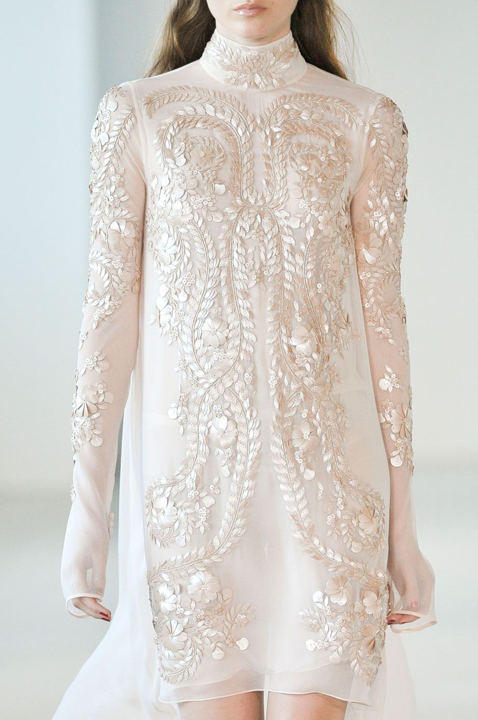 Semisheer high neck short wedding dress with sleeves champagne