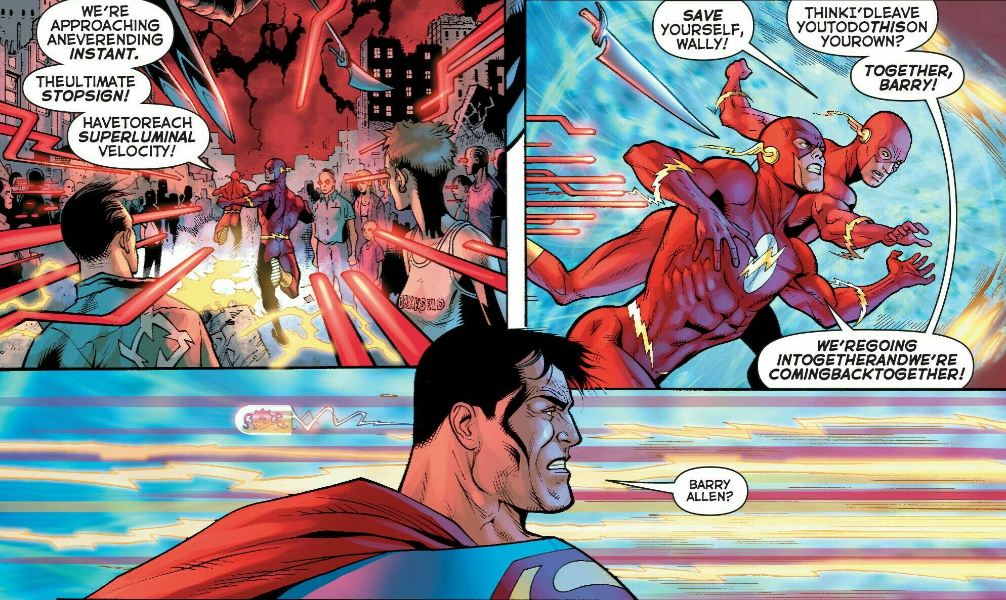 The Glasses run from Darkseid's Omega Beams as Superman watches during Final Crisis