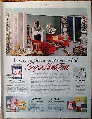 Kem-Tone ad 1951 original vintage magazine advert 1950s home decor ...