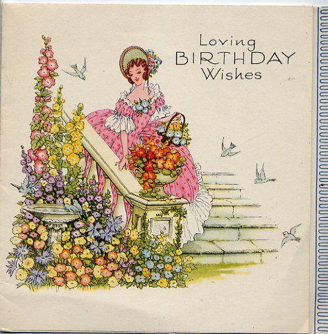 Art Deco Crinoline Lady In Garden Vintage Greeting Card Vintage