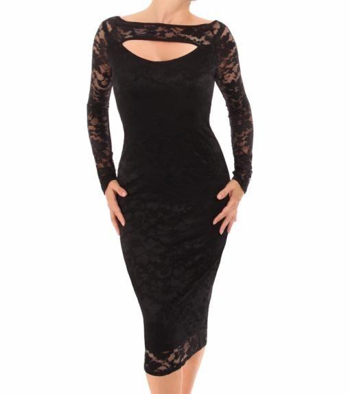 30++ Black lace keyhole dress trends