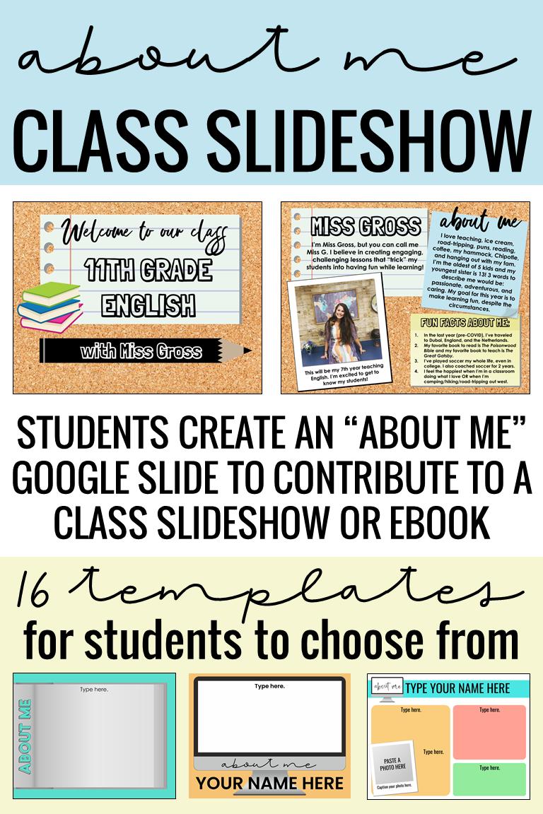 All About Me Google Slides Activity Class Slideshow Ebook Distance Learning Teaching High School English Teaching Skills Teaching Classroom