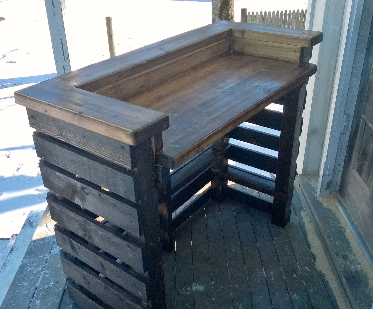 Rustic Pallet Bar Unit (Reclaimed Wood) | Rustikale bars, Holzleim ...