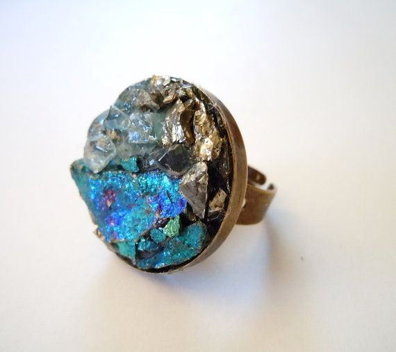 Peacock Ore Ring Raw Stone Cluster Ring Blue Topaz By