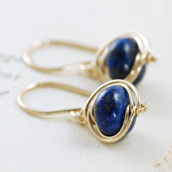 Navy Blue Lapis Lazuli Earrings 14k Gold Fill Dangle By Aubepine 24 00