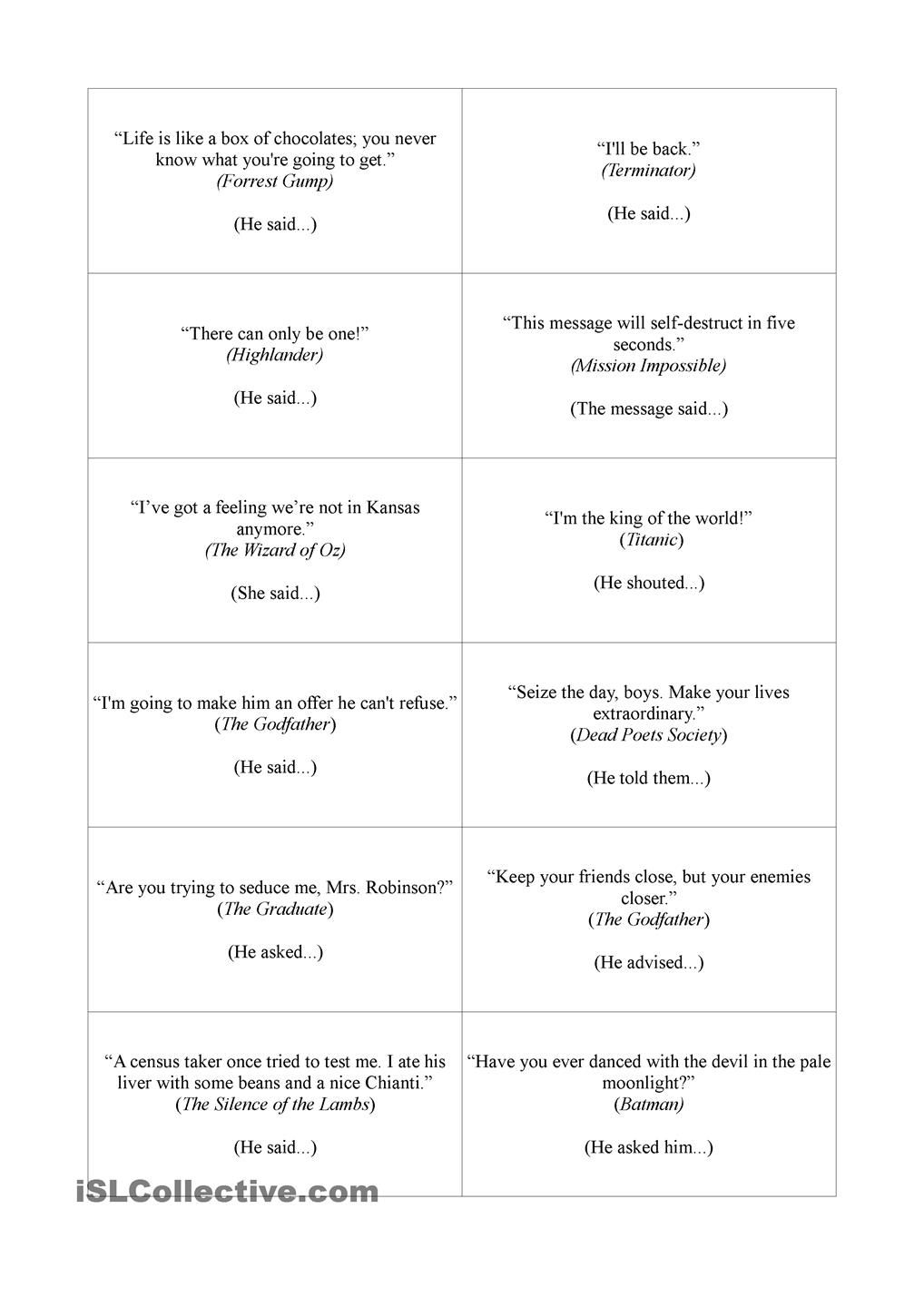 Workbooks speech worksheets : Movie quotes - reported speech | Games & Speaking Activities ...