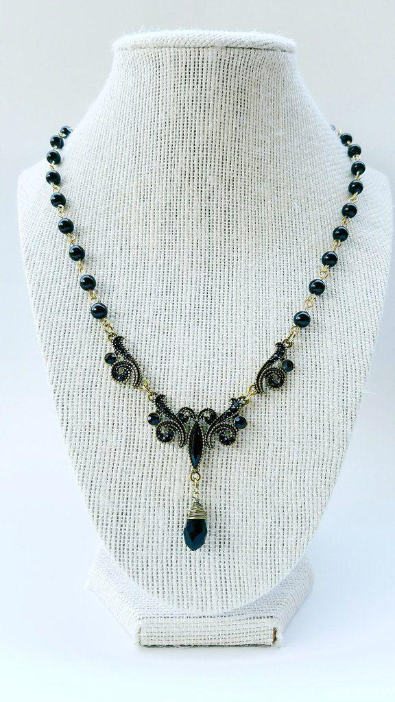 Black brass necklace