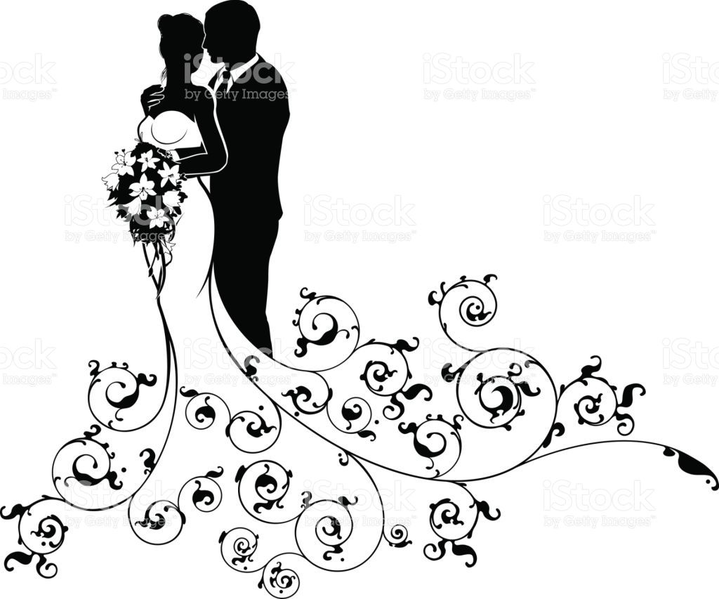 Bride And Groom Couple Wedding Silhouette Abstract Royalty