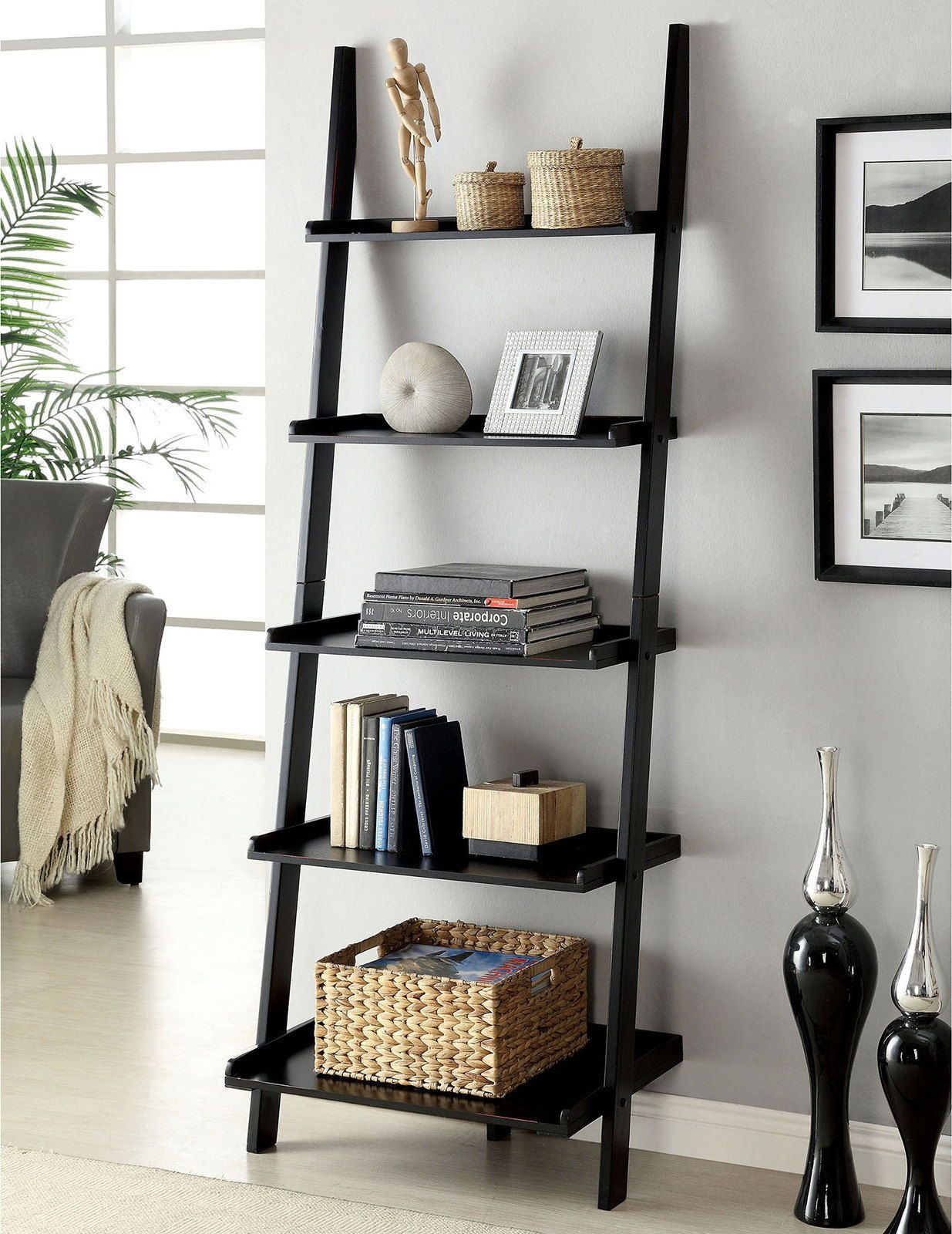 Sion Ladder Shelf Blackblack In 2021 Ladder Shelf Decor Home Decor Leaning Bookcase Bedroom decor ladder shelf