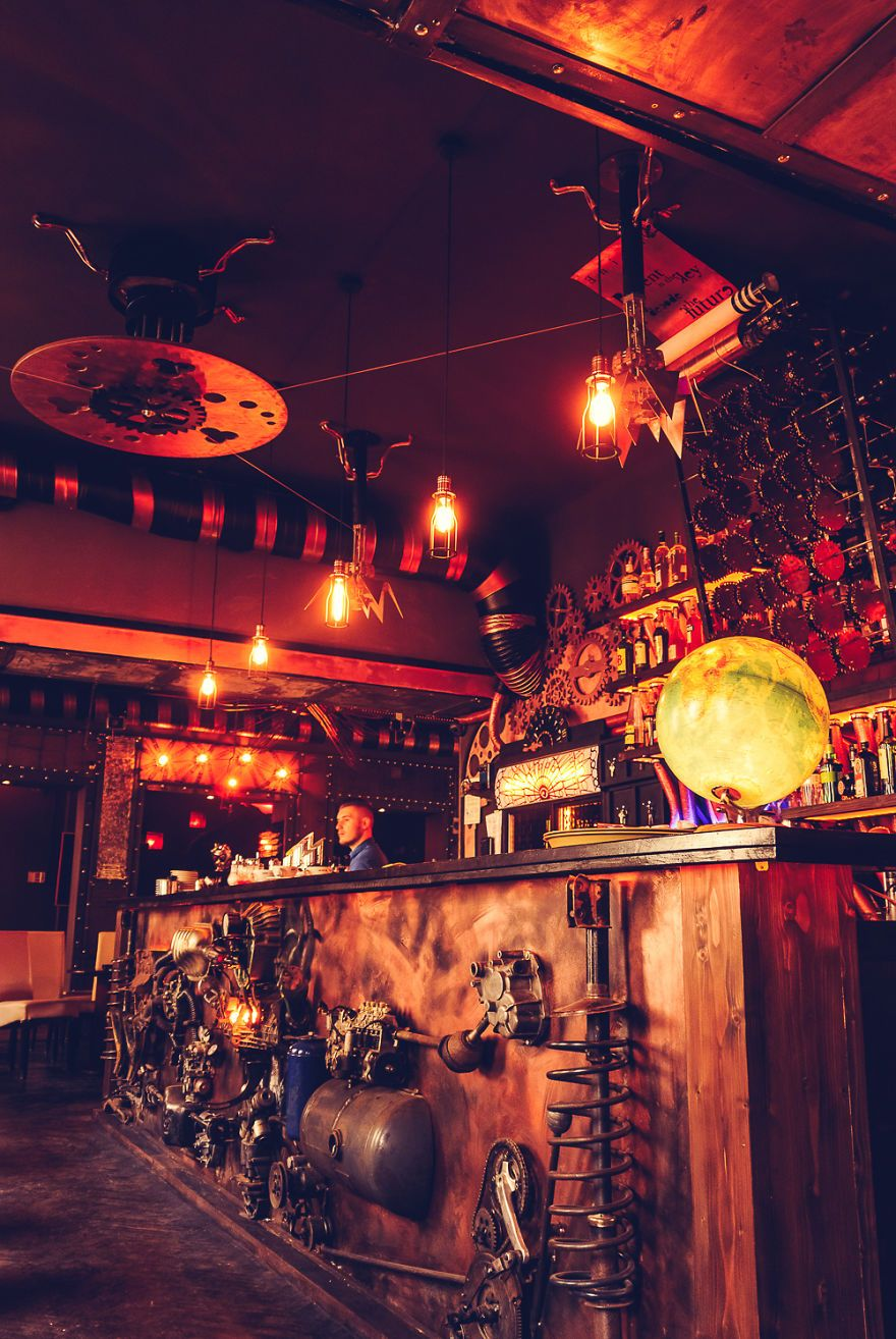 The First Kinetic Steampunk Bar In The World Opens In Romania Enigma Cafe Steampunk Bar Steampunk Cafe Steampunk Interior