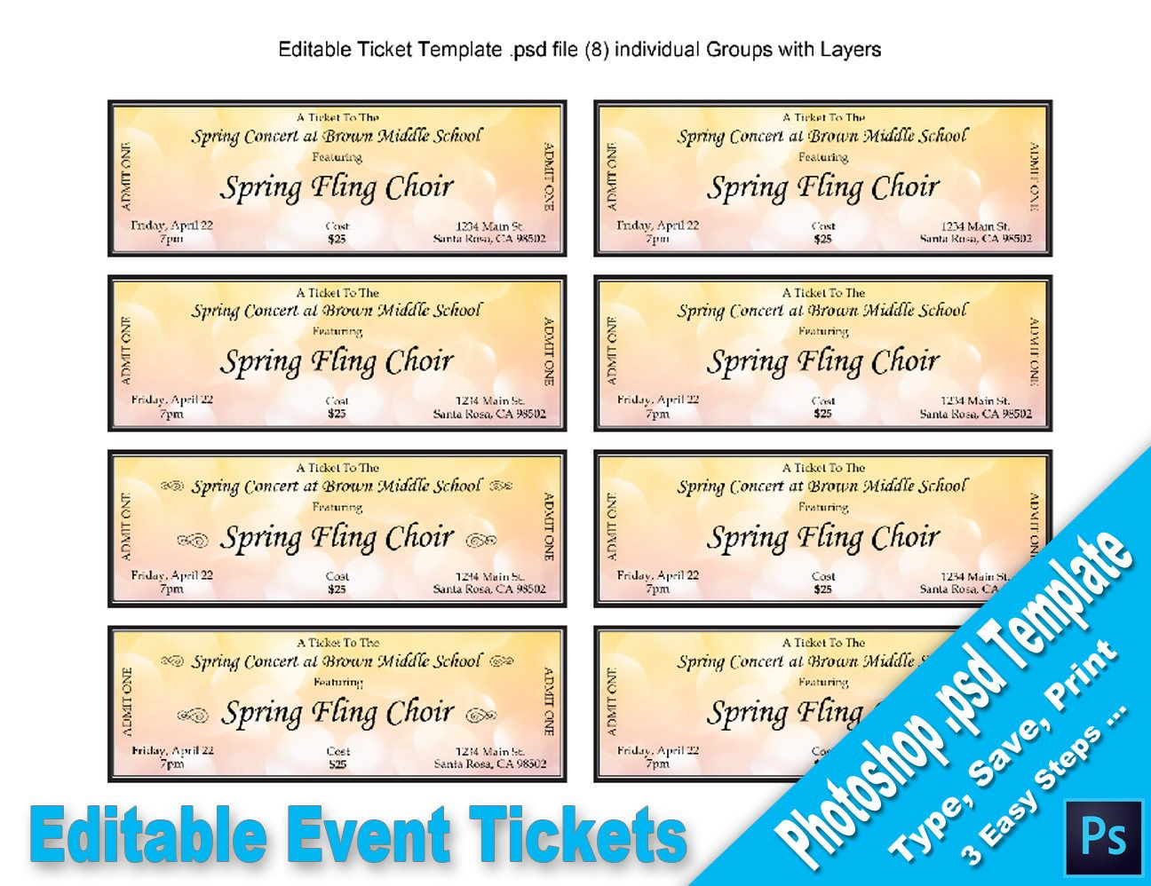 Event Tickets, Editable Photoshop Psd Template, Printable, Instant  Download, You Edit Template