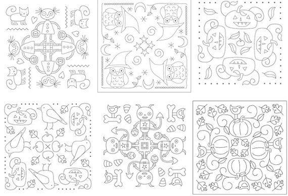 Halloween Mandala Embroidery Patterns