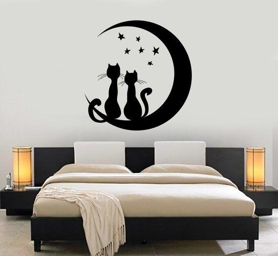 Wall Vinyl Moon Stars Cat Romantic Night Decor For Bedroom Etsy Room Wall Painting Bedroom Murals Bedroom Wall Paint