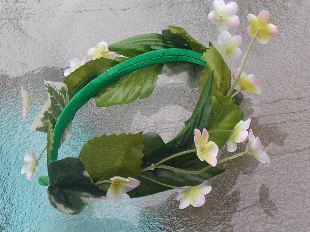 Leafy Green Fairy Headband Crown With Wreath Of Small White And Pink