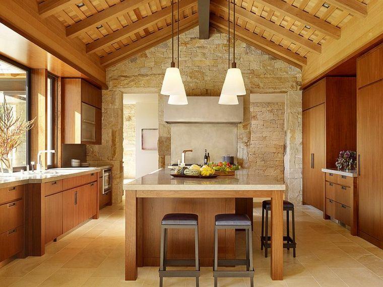 piedra caliza paredes madera Interiores para cocina Pinterest - paredes de madera